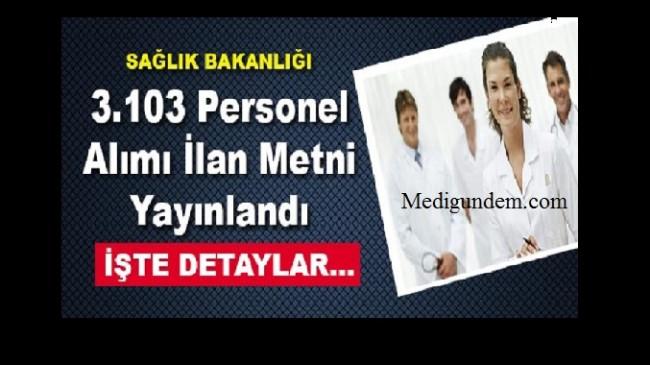 Sağlık Bakanlığı 3 bin 103 personel alımı İlan metni