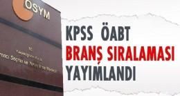 2016 KPSS-ÖABT branş sıralamaları açıklandı