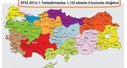 KPSS 2016/1 Yerleştirmesine 1.155 ebenin il bazında dağılımı