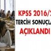 KPSS 2016/2 tercih sonuçları açıklandı