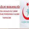 KPSS-2016/6 İle Sağlık bakanlığı Sağlık Personeli Alım İlanı