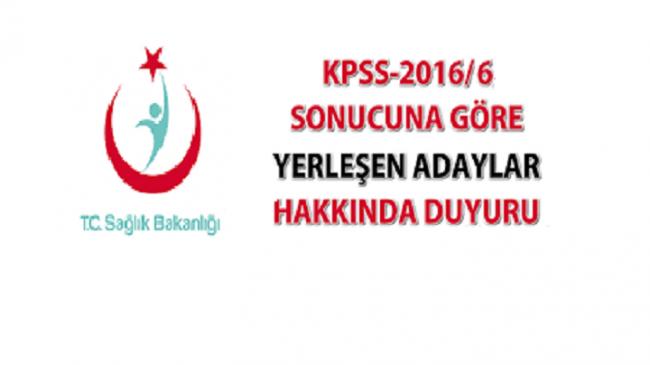 KPSS 2016/6 Yerleştirme İşlemleri Hakkında Duyuru