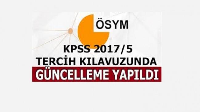 Sağlık Bakanlığı KPSS 2017/5 Tercih Kılavuzunda Değişiklik