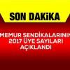 Sağlık Hizmet Kolundaki 2017 yılı Sendikaların üye sayıları!!