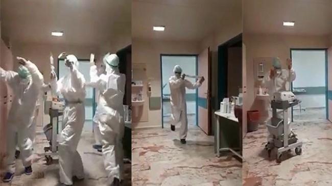 Sağlıkçılar, virüs nedeniyle yoğun bakımda hasta kalmayınca böyle sevindi