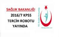 Sağlık Bakanlığı 2016/7 KPSS Tercih Robotu yayında