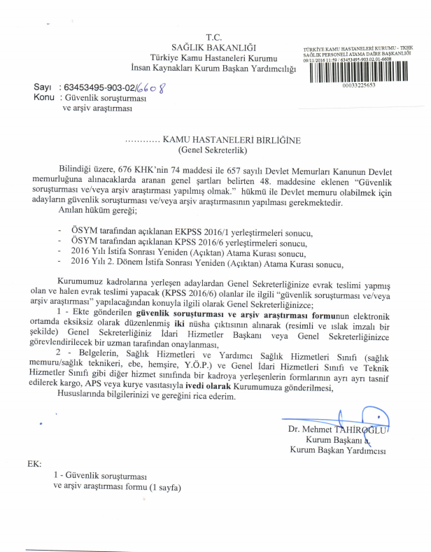 Sağlık Bakanlığı, atanan personele güvenlik soruşturması yapacak